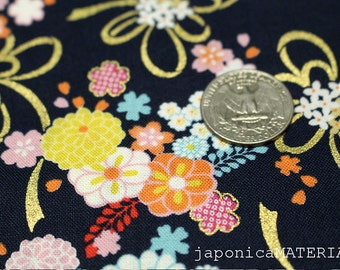 Japanese fabric, 1/2 yard, 100% cotton, chrysanthemum and ribon, navy