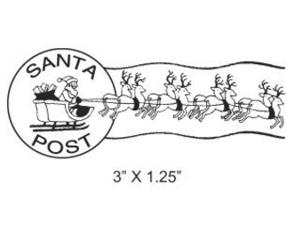 Santas Sleigh and Reindeer Postmark Mail Art Rubber Stamp 309