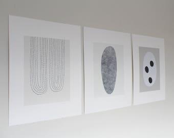 Set of three minimal, abstract, modern, neutral coloured screenprints. Handmade art by Emma Lawrenson