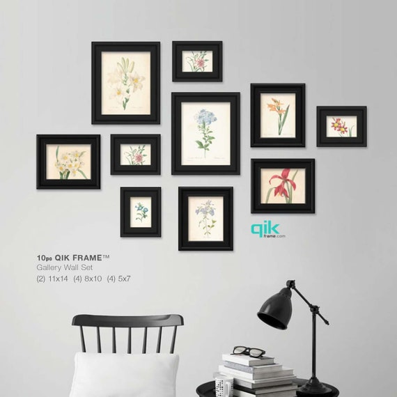 10pc QIK FRAME® Gallery Wall Frame Set -Black | Easy Change Picture ...