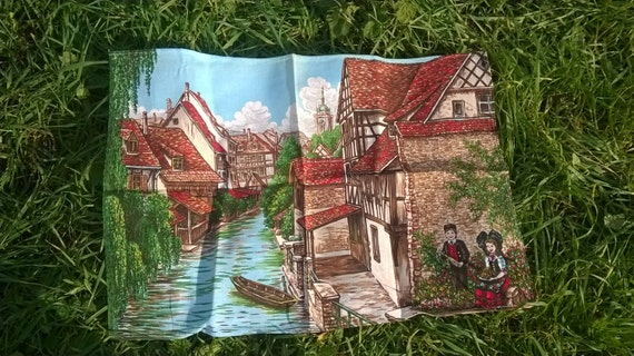 French Alsace Village Dish Cloth River Timbered House Folk People Vintage Folk Kitchen Towel Unused #sopieladydeparis