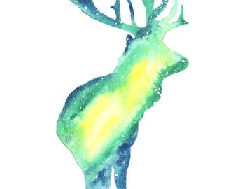 Elk Spirit Totem Animal ORIGINAL Watercolor 9X12