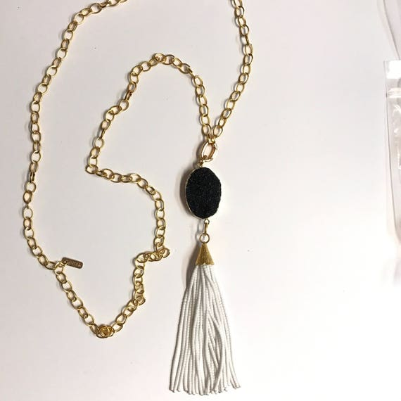 """Tassel Necklace, Long Necklace, Double Wrap, Removable Clasp, White Kashi Tassel, Onyx Druzy Connector, Oval Link ,22K GGold Plated,44"""" Long"""