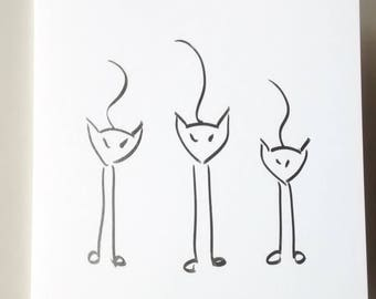 Cat Greeting Cards - I Tre Gattini Italian Greeting Cards