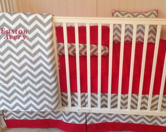 Bumperless Red and Gray Modern Crib Bedding