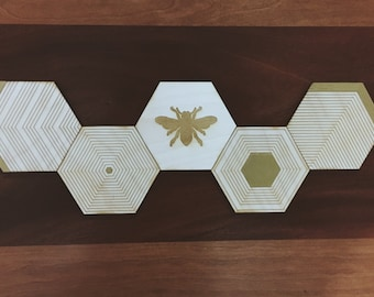 Honeycomb Coasters, Wooden Hexagon Coasters, Laser Cut and Laser Engraved Bee Hive Coasters with Queen Bee, Handmade and Handpainted