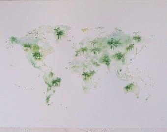 Original Watercolour World Map Artwork, A3 World Art Multi Coloured, Pink or Blue