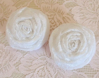 2 Larger Handmade Lace Rolled  Roses (2-1/4 inches) In White  MY-268  Ready To Ship