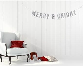 MERRY & BRIGHT Holiday Glitter Garland. Christmas Minis. Holiday Minis. Holiday Decor. Chirstmas Garland. Christmas Decor