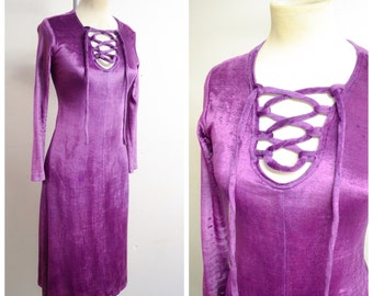 1970s Purple velour lace up neck dress / 70s lattice pilgrim psych velvet dress - S