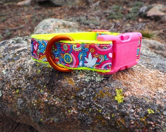 Dog Collar - Hippie Peace, Doves and Flowers