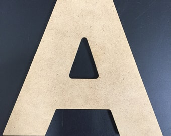 "Wood Letters - Unfinished - 1/4"" MDF - Aharoni Font"