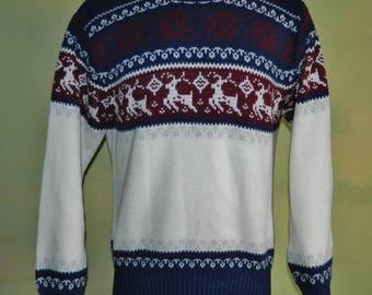 M Vintage 1970s 70s Vintage Reindeer Ski Sweater Nordic Alpine Ski Sweater Men's Ski Sweater Christmas Sweater