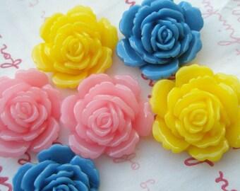 sale ME--3 High Quality Rose cabochons MIX 6pcs Yellow Pink Blue