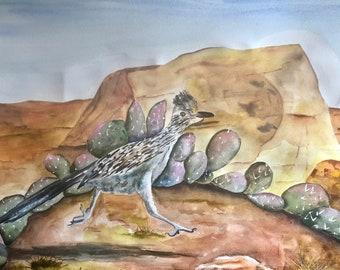 Original Watercolor Roadrunner Art Southwest Decor Large Framed Painting Desert Art Cactus Wall Decor Cactus Art Utah Art Bird Art