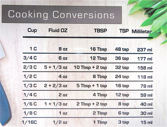 Cooking Conversions Magnet Conversion Chart Decal Kitchen