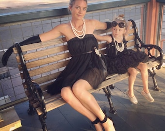 Audrey Hepburn Inspired Tulle Cockail Dress  Halloween Costume . Matching mommy and me dress