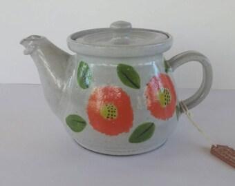 Vintage Handmade Ceramic Teapot/ Orange Flowers/ El Salvador/ Shicali