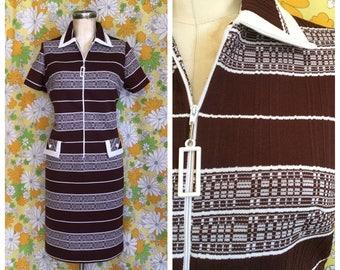 60s 70s Vintage Brown Stripe Zip Front Shift Dress Medium Large