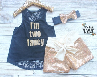 Second Birthday Outfit Girl, Baby Girl Second Birthday Outfit, I'm Two Fancy, Toddler Birthday, Baby Sequin Shorts, Black Gold 2nd Birthday