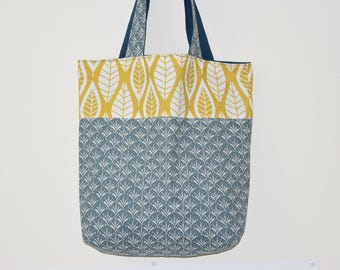 Tote bag - double - geometric / large leaf * Scandinavian *-tones mustard, grey and white / 00650