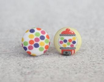 Bubble Gum Fabric Button Earrings