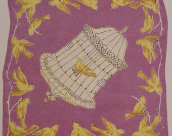 Vintage Pink & Yellow Birds and Birdcage Hankie