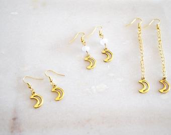 Gold Moon Earrings, Dangle earrings, Boho Earrings, Gold Drop Earrings, Moon Earrings, Gift for her, Birthday gift, Gift for women