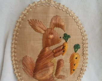 Vintage Straw woven bunny art FREE SHIPPING