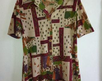 70s novelty print medieval landscape blouse  / medium - large