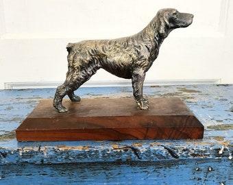 Vintage Dog Bookend Doorstop Figuring Metal Wood Setter Missing Tail