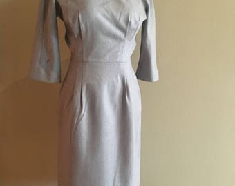 Vintage 1950s Anne Fogarty Dove Gray Wool Wiggle Dress XS