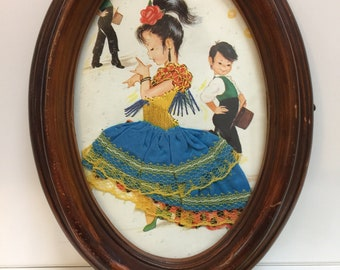 Spanish Dancers, Vintage Flamenco Water Color Painting