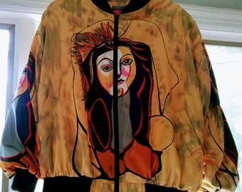 Vintage 1980s Picasso Faces Bomber Jacket