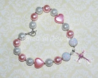 Chunky Bead Rhinestone Cross, Princess Necklace, Girls Pink  White Pearl Heart Bubblegum Necklace, Birthday Photos, Baptism Gift
