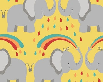 Safari Park - Elephant Love Fabric - Yellow - sold by the 1/2 yard
