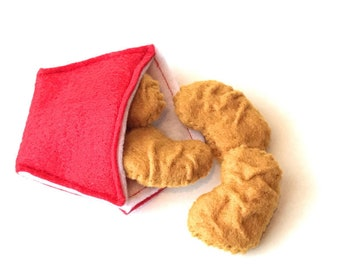 Felt food Chicken nuggets set, eco friendly pretend play food, toy chicken nugget, felt chicken nugget, play kitchen food, play food, nugget