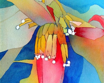 Art Original Watercolor Painting Close-Up of HAWAIIAN BANANA FLOWER