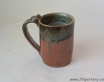 Stoneware Coffee Mug - Ceramic Cup - Handmade Pottery - Iron Red and Gray Celadon - Thumb Rest - Ready to Ship - Mother's Day Gift   m313