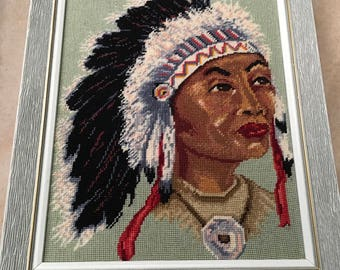 Vintage Native American Indian Chief Framed Needlepoint Head Dress