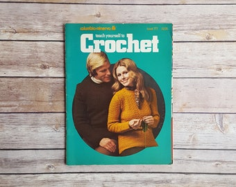 Easy Crocheting Book Teach Yourself To Crochet Easy Crocheting Projects Vintage 70s Blanket Crocheted Instructions DIY Dog Sweater Pattern