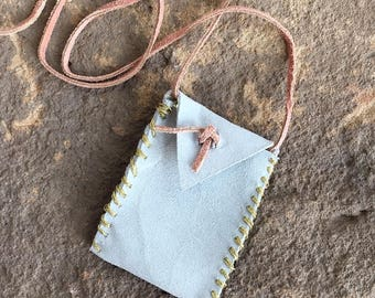Handmade Medecine Pouch in Light Blue