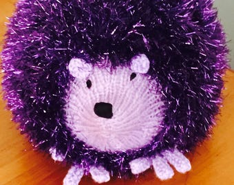 Hand Knitted Sparkly/Tinsel  Hedgehog Soft Toy ( ALL proceeds to the Cystic Fibrosis Trust) )