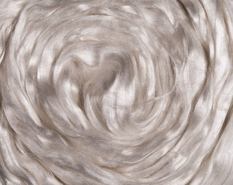 Cultivated Silk Fiber, 4 Ounces. Bombyx Sliver, Spinning Fiber, Silk Top