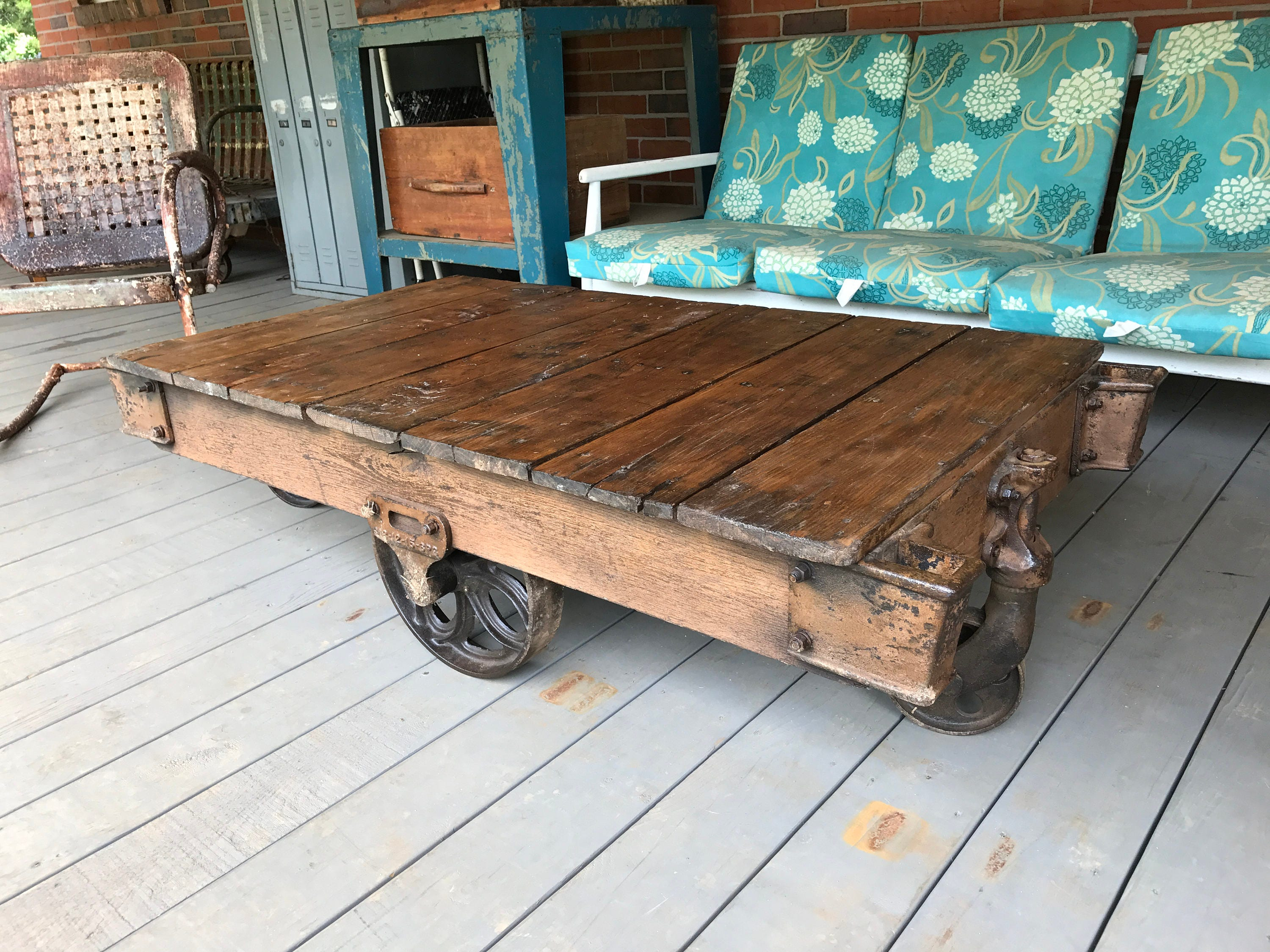 Vintage Lineberry Wood Factory Cart Repurposed Coffee Table