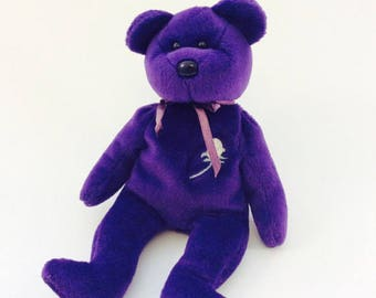 Vintage 1997 Princess Diana Beanie Baby Doll 1997 Dark Purple Bear with Rose TY Special Edition Made in China No Heart Tag