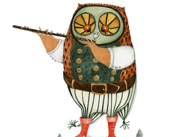 Owl illustration print 8x11 giclee owl playing the flute drawing print