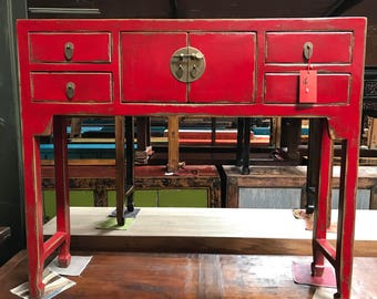 FREE SHIPPING WITHIN U.S.-Chinese Console Table in Lacquered Red (Los Angeles)