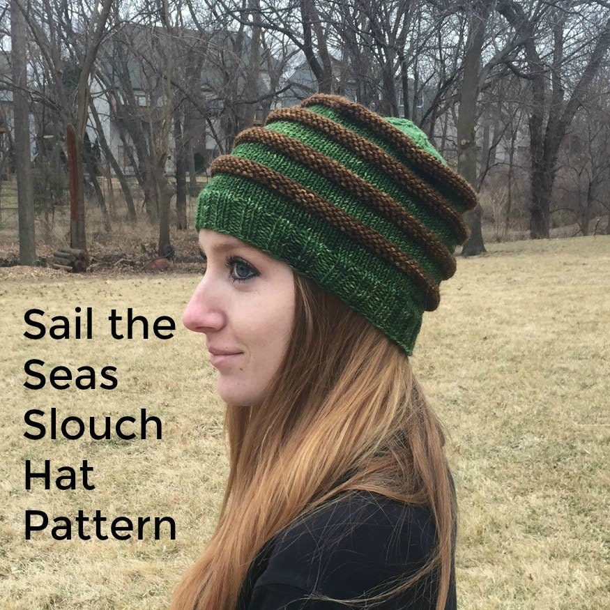 Pdf Sail The Seas Slouch Hat Knitting Pattern Pdf Digital Download