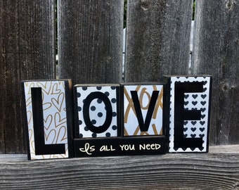 Love is all you need blocks, Valentine's Day blocks, Love blocks